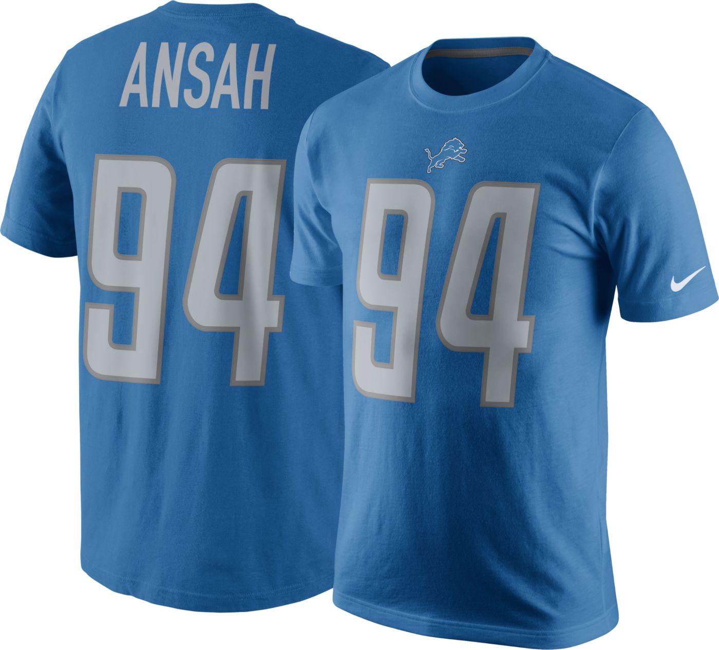 Nike Men's Detroit Lions Ziggy Ansah #94 Pride Royal T-Shirt