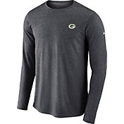 Nike Men's Green Bay Packers Sideline Coaches Performance Anthracite Long Sleeve Shirt