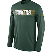 Nike Men's Green Bay Packers Sideline Seismic Legend Performance Green Long Sleeve Shirt