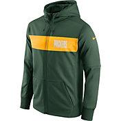 Nike Men's Green Bay Packers Sideline Therma-FIT Green Full-Zip Hoodie