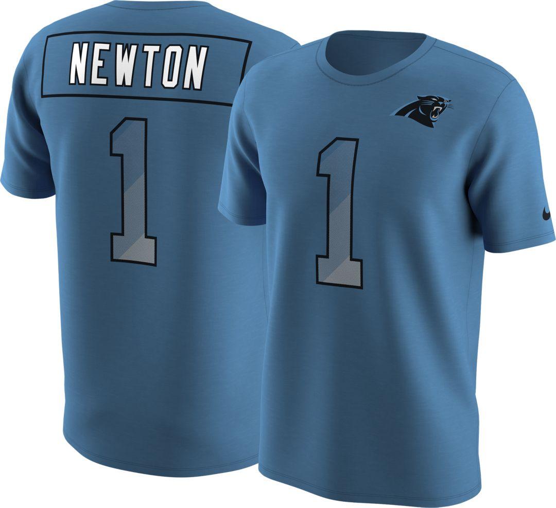 detailed look 36234 01627 Nike Men's Carolina Panthers Cam Newton #1 Prism Player Blue T-Shirt