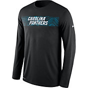 Nike Men's Carolina Panthers Sideline Seismic Legend Performance Black Long Sleeve Shirt