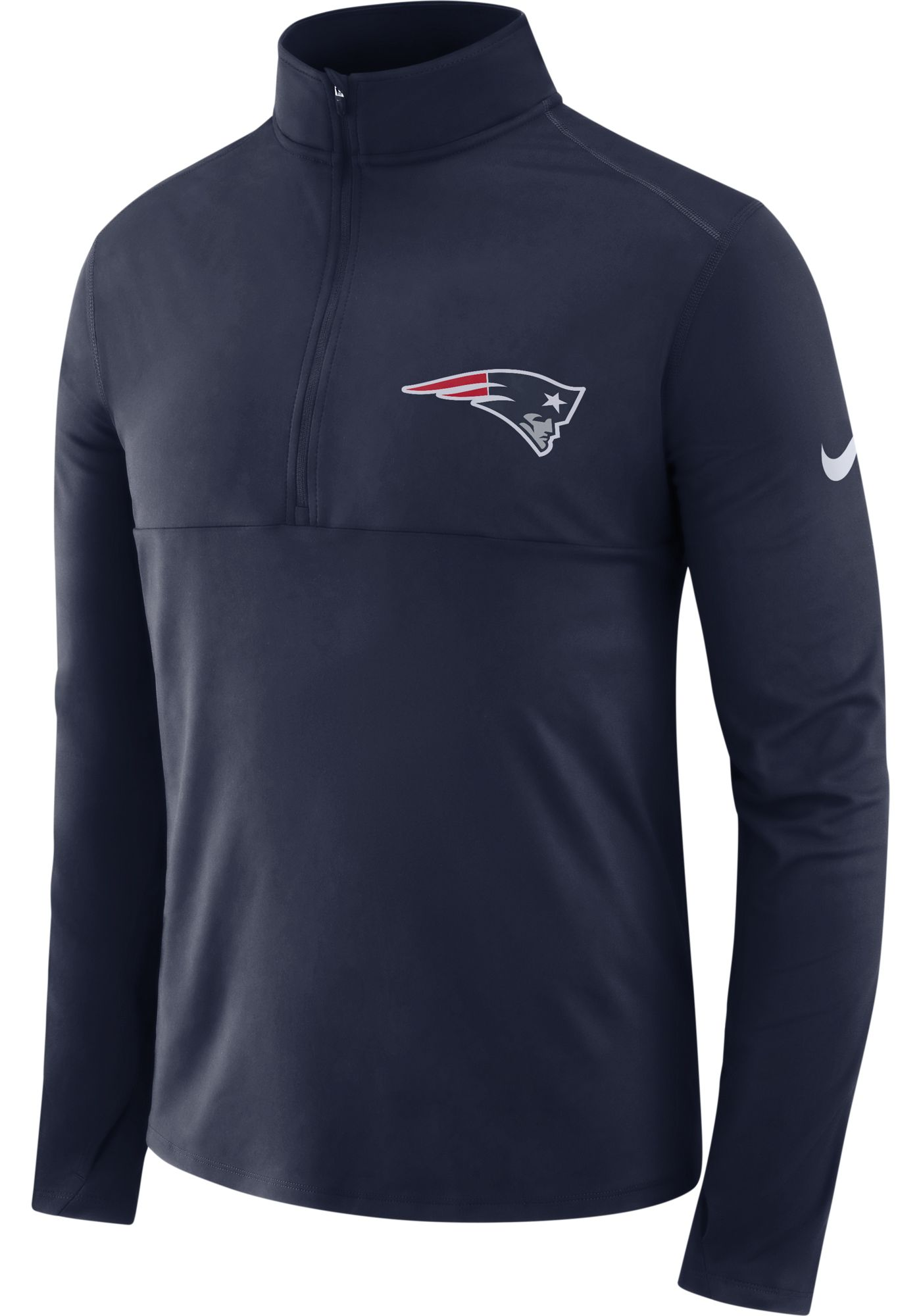 Nike Men's New England Patriots Core Performance Navy Half-Zip Pullover Top