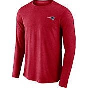 Nike Men's New England Patriots Sideline Coaches Performance Red Long Sleeve Shirt