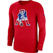 Nike Men's New England Patriots Tri-Blend Historic Crackle Red Long Sleeve Shirt