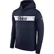 Nike Men's Los Angeles Rams Sideline Therma-FIT Navy Pullover Hoodie