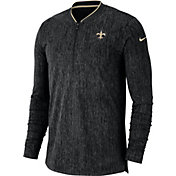 Nike Men's New Orleans Saints Sideline Coaches Half-Zip Black Pullover