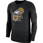 Nike Men's New Orleans Saints Tri-Blend Historic Crackle Black Long Sleeve Shirt