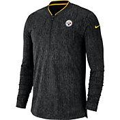 Nike Men's Pittsburgh Steelers Sideline Coaches Half-Zip Black Pullover