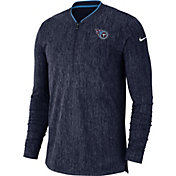 Nike Men's Tennessee Titans Sideline Coaches Half-Zip Navy Pullover