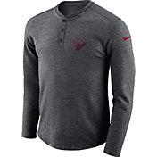 Nike Men's Houston Texans Henley Charcoal Long Sleeve Shirt