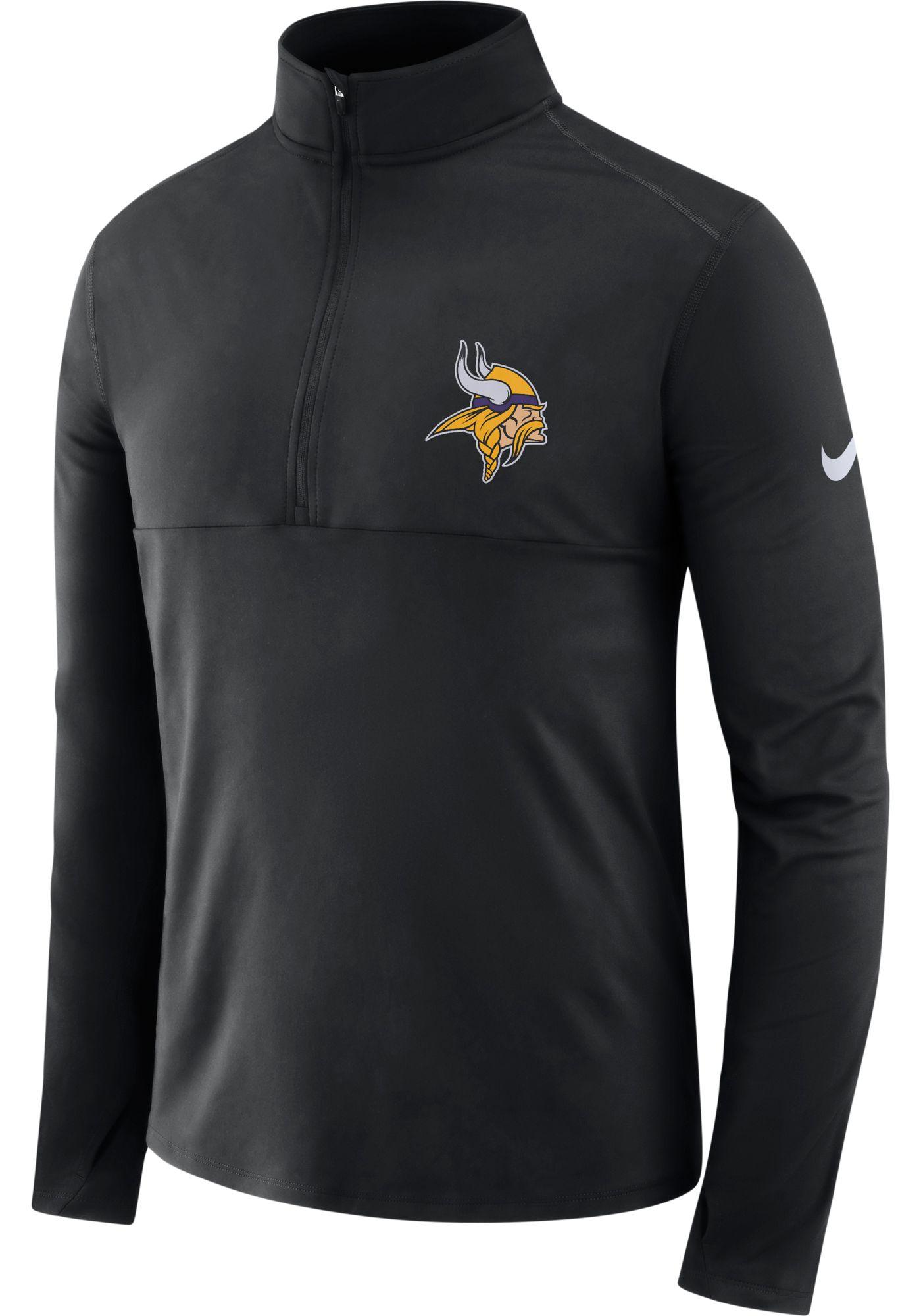 Nike Men's Minnesota Vikings Core Performance Black Half-Zip Pullover Top