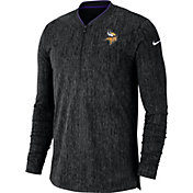 Nike Men's Minnesota Vikings Sideline Coaches Half-Zip Black Pullover