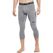 Nike Men's Pro 3/4 Length Heather Tights in Black/Cool Grey/Black