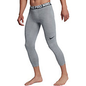Nike Men's Pro 3/4 Length Heather Tights in Cool Grey/White/Black