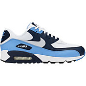Nike Men's Air Max '90 Essential Shoes in White/Navy/Blue