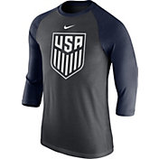 Nike Men's USA Crest Grey/Navy Raglan Three-Quarter Sleeve Shirt