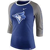 Nike Women's Toronto Blue Jays Raglan Tri-Blend Three-Quarter Sleeve Shirt