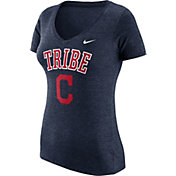 Nike Women's Cleveland Indians Navy Tri-Blend V-Neck T-Shirt