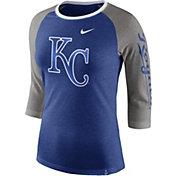 Nike Women's Kansas City Royals Raglan Tri-Blend Three-Quarter Sleeve Shirt