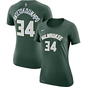 Nike Women's Milwaukee Bucks Giannis Antetokounmpo #34 Dri-FIT Green T-Shirt