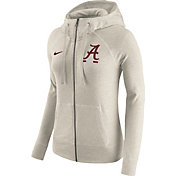 Nike Women's Alabama Crimson Tide Heathered Oatmeal Gym Vintage Full-Zip Hoodie