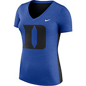 Nike Women's Duke Blue Devils Heathered Duke Blue Dri-FIT Touch V-Neck T-Shirt