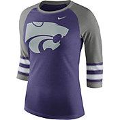 Nike Women's Kansas State Wildcats Purple/Grey Stripe Sleeve Three-Quarter Raglan Shirt