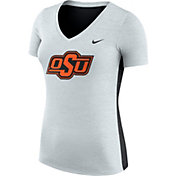 Nike Women's Oklahoma State Cowboys Heathered Grey Dri-FIT Touch V-Neck T-Shirt