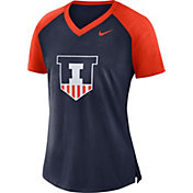 Nike Women's Illinois Fighting Illini Blue/Orange Top V-Neck Raglan T-Shirt