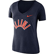 Nike Women's Illinois Fighting Illini Blue Vault Tri-Blend V-Neck T-Shirt