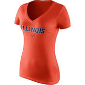 Nike Women's Illinois Fighting Illini Orange Wordmark V-Neck T-Shirt