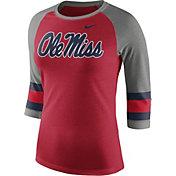 Nike Women's Ole Miss Rebels Red/Grey Stripe Sleeve Three-Quarter Raglan Shirt