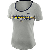 Nike Women's Michigan Wolverines Grey Strike Slub Performance T-Shirt
