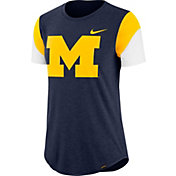 Nike Women's Michigan Wolverines Blue Tri-Blend Fan Crew T-Shirt