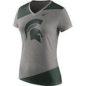 Nike Women's Michigan State Spartans Grey/Green Champ Drive Football Dri-Blend V-Neck T-Shirt