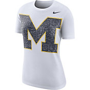 Nike Women's Michigan Wolverines Boy Cut White Tri-Blend T-Shirt
