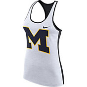 Nike Women's Michigan Wolverines White Dri-FIT Touch Tank Top