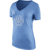Nike Women's North Carolina Tar Heels Carolina Blue Basketball Logo Tri-Blend T-Shirt
