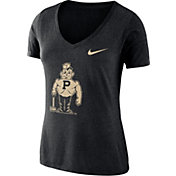 Nike Women's Purdue Boilermakers Black Vault Tri-Blend V-Neck T-Shirt