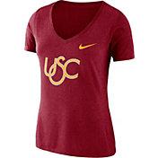 Nike Women's USC Trojans Cardinal Vault Tri-Blend V-Neck T-Shirt