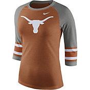 Nike Women's Texas Longhorns Burnt Orange/Grey Stripe Sleeve Three-Quarter Raglan Shirt