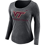 Nike Women's Virginia Tech Hokies Grey Logo Tri-Blend Long Sleeve Shirt