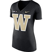 Nike Women's Washington Huskies Black Stripe Bar V-Neck T-Shirt