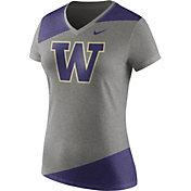 Nike Women's Washington Huskies Grey/Purple Champ Drive Football Dri-Blend V-Neck T-Shirt
