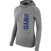 Nike Women's New York Giants Element Grey Quarter-Zip Performance Hoodie