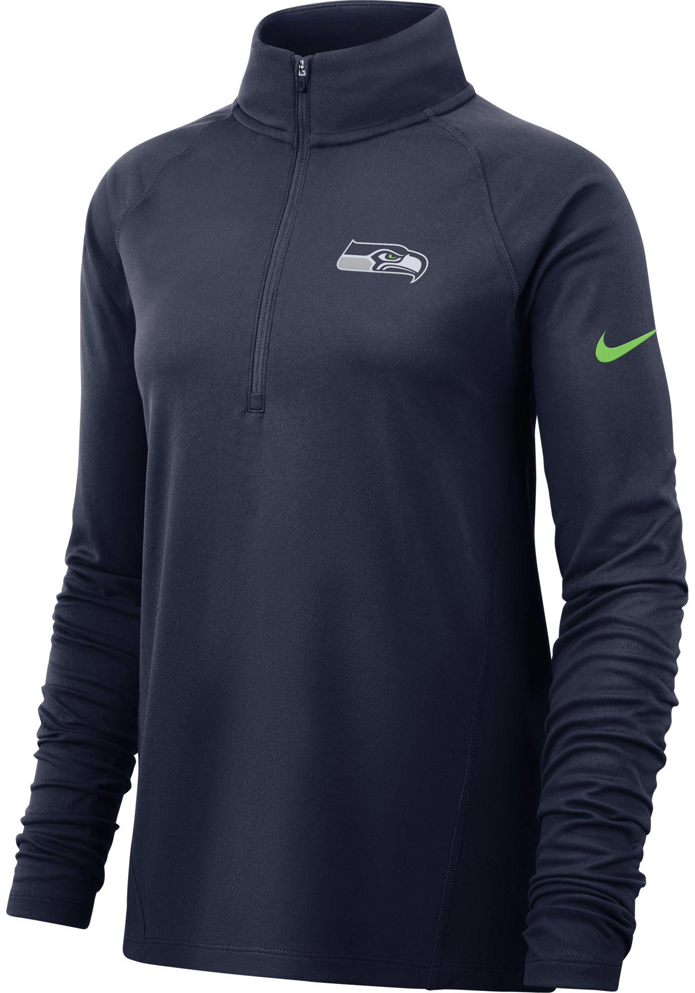 Nike Women's Seattle Seahawks Core Navy Half-Zip Pullover