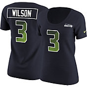 Nike Women's Seattle Seahawks Russell Wilson #3 Prism Player Navy T-Shirt