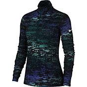 Nike Women's Pro Warm Ink Stripe Half Zip Long Sleeve Shirt