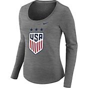 Nike Women's USA Soccer Crest Heather Grey Scoop Neck T-Shirt